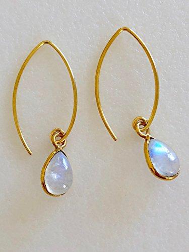 Moonstone Earrings, Baby Pear Moonstones, Petite Moonstones Drops, Natural Rainbow Moonstone, June Birthstone, Bridal, 24K Gold Vermeil.
