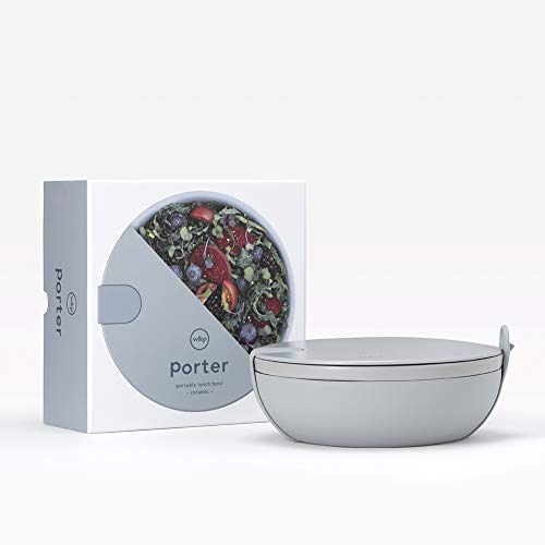 W&P WP-PBC-SL Ceramic Porter Bowl Lunch Container, Food Storage, Bento Box, Meal Prep, Airtight, Microwave and Dishwasher Safe, BPA-Free, 1 Liter, Slate