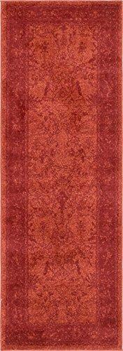 - Unique Loom 3137283 Area Rug, 2' x 6' Runner, Rust Red