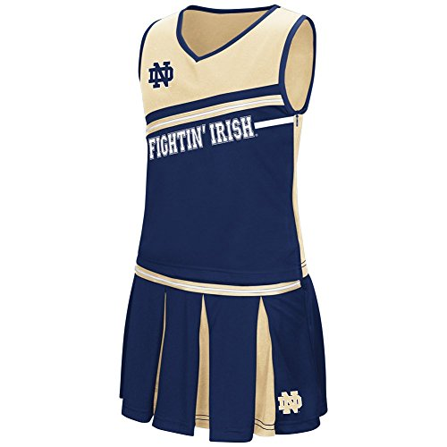 Damen Costumes (Colosseum Youth NCAA-Girls Curling Cheer Set-Notre Dame Fightng Irish-Navy-Youth Small)