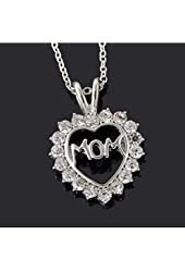 Silver Heart Round Shaped Mother's day Mom Gift Jewelry Pendant Necklace Chain