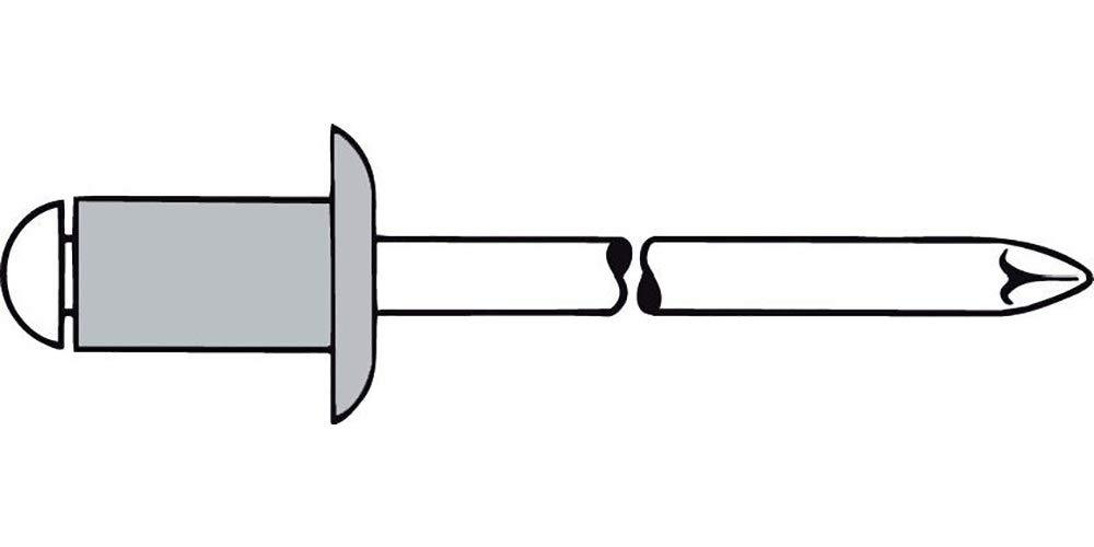 Gesipa 0//2900//000//4,8//14// //01 Blindniete Alu//Stahl Standard Flachkopf Grau 4,8 x 14 500 St/ück