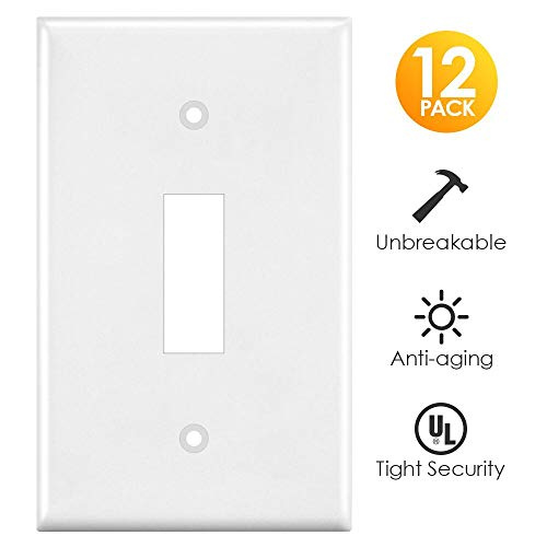 Light Switch Cover, White 12 Pack Switch Plates Covers Single Gang Toggle Wall Outlet Covers, Standard Size, Unbreakable Polycarbonate -