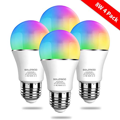 - SOLARXIA Smart Bulb WiFi Multicolor LED Light Bulb Night Lamp Work with Alexa, Echo, Google Home and IFTTT, 8W E27 RGB Color Changing Bulb, Set of 4