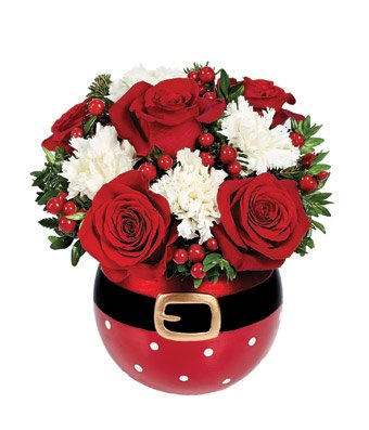 White and Red Christmas - eshopclub Same Day Christmas Flower Delivery - Online Christmas Flowers - Christmas Flowers Bouquets & Plants - Send Christmas Centerpiece by eshopclub