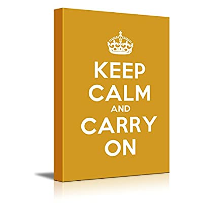 Canvas Wall Art Gallery Wrap Canvas Prints - Keep Calm and Carry On | Stretched Dark Yellow Canvas Home Art Ready to Hang - 24