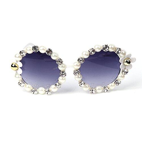 JAGENIE estilo redondas para sol diseño 3 espejo Gafas de estilo vintage de cristales 4 flores mujer retro de qrzExr6t