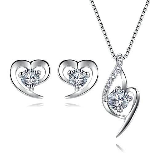 EVERU Sterling Silver Jewelry Sets for Women, Heart Pendant Necklace & Heart Earrings with Sparkle AAA Cubic Zirconia with Gift Box