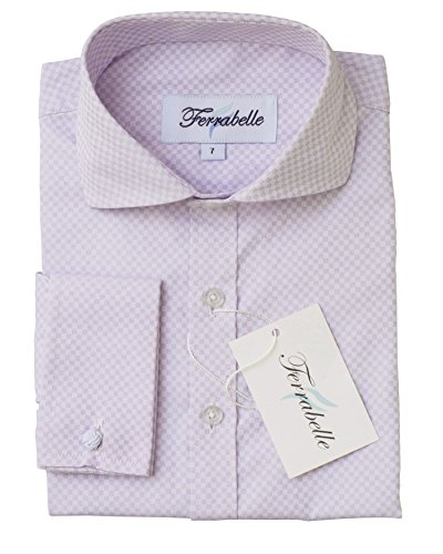 (Boys Formal Wear Dress Shirt - Solid Long Sleeve With French Cuffs Lilac 6)