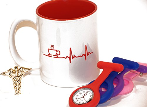 11 .oz Nurse/Medical Coffee Cup with Medical Uniform Accessories (Color: Red/White, Tamaño: 11 ounce)
