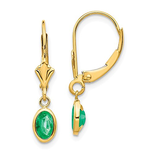 14k Yellow Gold 6x4 Oval Bezel May/emerald Leverback Earrings Lever Back Drop Dangle Birthstone May Fine Jewelry Gifts For Women For Her ()