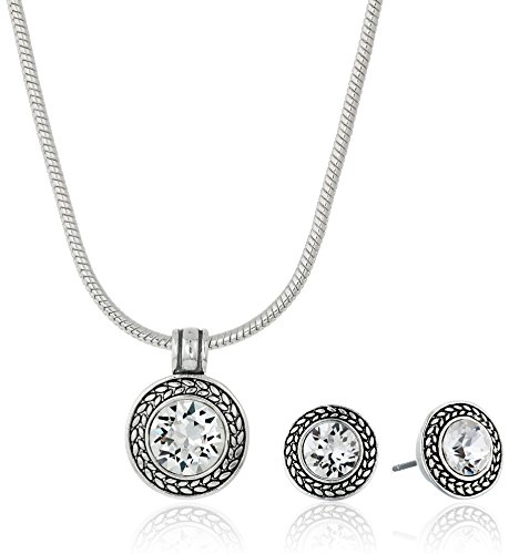 Napier Silver-Tone and Crystal Swarovski Necklace and Earrings