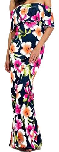 Off Dress Long Ruffles Jaycargogo 2 Beach Print Maxi Shoulder The Floral Women's Stylish Party 7PwPpxqE