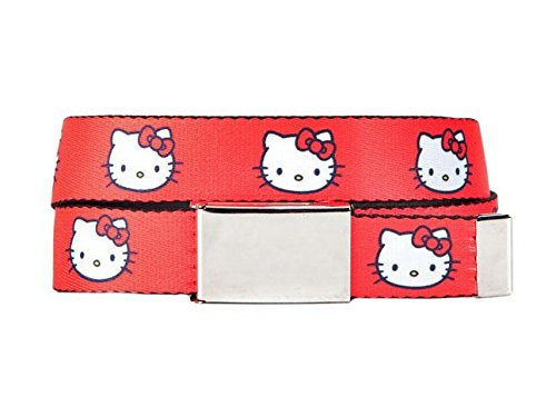 Hello Kitty Head Red Webbed Slide Belt - Slide Hello Kitty