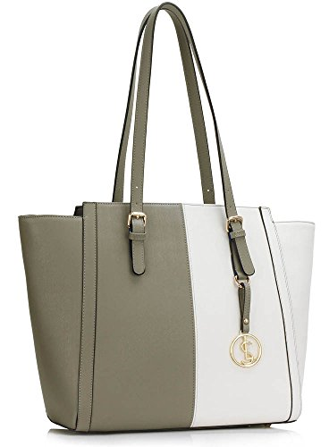 Shopper Great 464 Leahward Nice Sale amp; Grey Bags Tote Women's Clearance Florder Large White Shoulder Size A4 Handbags 065q6