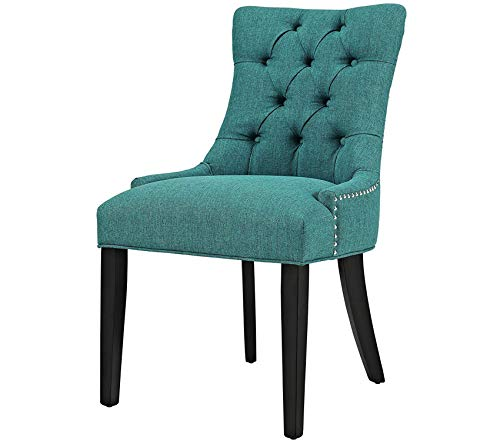 Premium Regent Modern Elegant Button-Tufted Upholstered Fabric Dining Side Chair with Nailhead Trim in Teal (Lounge Regent)