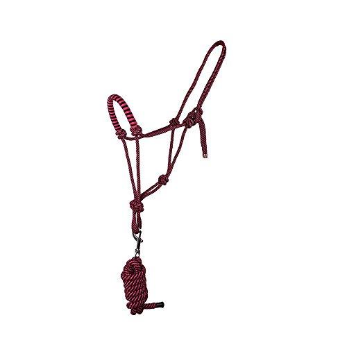 Knotenhalfter mit Strick für Bodenarbeit in tollen Farben Pony, Cob, Full, Groesse:Pony;Farbe:dunkelrosa