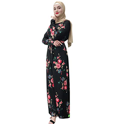 (HYIRI Muslim Women's Modest Breathable Puff Sleeve Long Robe Kaftan Clothes)