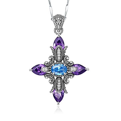 Merthus Vintage 925 Sterling Silver Synthetic Amethyst Dainty Cross Necklace for Women 18 Inch Chain