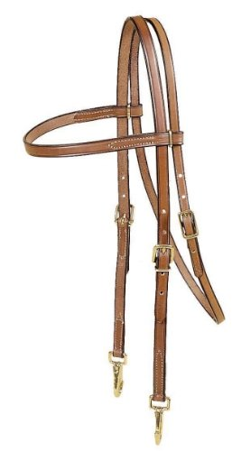 (TORY LEATHER Browband Training Headstall - Brass Snap Bit Ends)