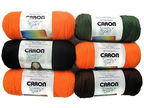 Halloween Yarn Crafts (Caron Simply Soft Solids Yarn, 6-Pack)