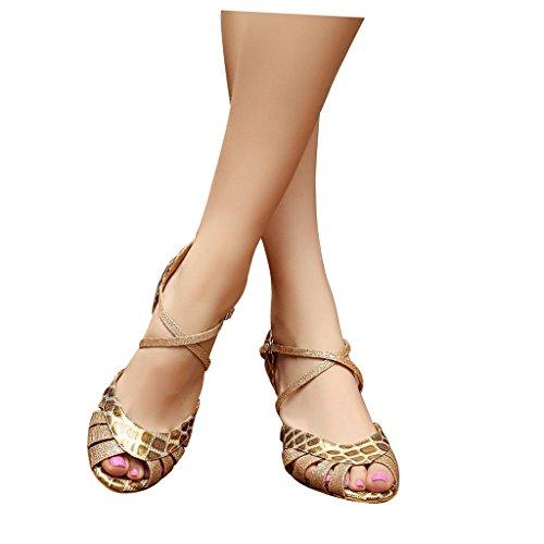 Sandalias Misu Women's toe Shoes 3 Peep con Shoes 3 Peep Dance toe Dance Salsa 3 Ballroom Practice mujer Misu Practice with latina Tango 3 Latin Tango Sandals para Salsa Ballroom de HHTqwrna