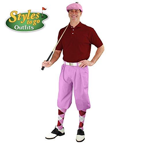 メンズゴルフ衣装 – ピンク、マルーン、&ホワイトゴルフKnicker Complete Outfit