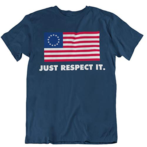 Betsy Ross Flag T-Shirt (Respect It) Navy Blue