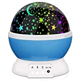 Night Light Projector Kids, PEYOU 8-Color Changing 360 Degree Rotating Romantic Star Moon