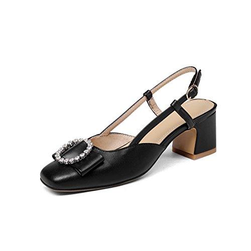 En primavera y verano con negrita y grande, Baotou agua perforación sandalias femenino black