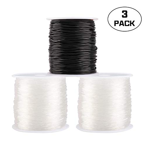 (Elastic Bracelet String Crystal Cord Stretch Bead Cord for Jewelry Making and Bracelet Making Clear and Black 1mm 3 Pack )