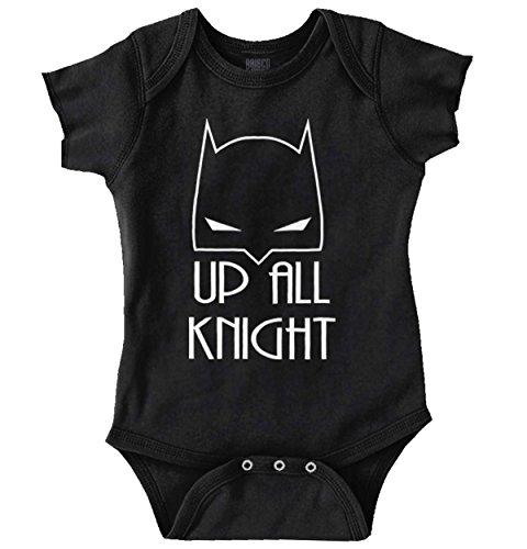 up All Night Funny Batman Child Cute Baby DC Comic Nerd Geek Romper (Girls Batman Onesie)