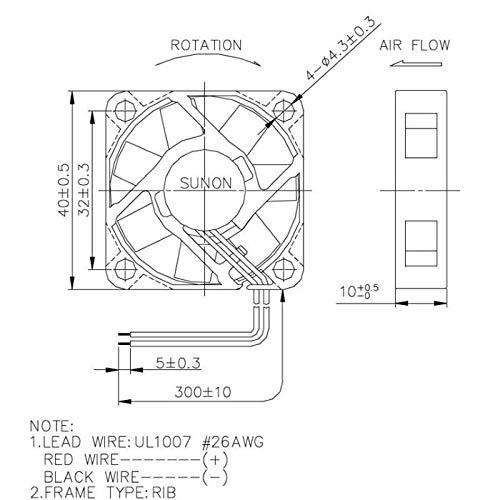 Lüfter 24v Dc 1 11w 40x40x10mm 11 9m H 5800u Min 11 9m H Sunon Mf40102v2 A99 Gewerbe Industrie Wissenschaft