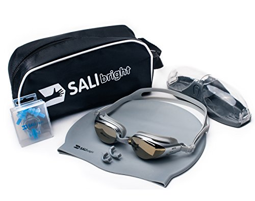 SALIBright Swimming Goggle Set - BEST RATED SWIM GOGGLE SET, Includes Anti Fog, Anti Leak, UV Protective Goggles, Durable Swim Cap, Earplugs and Nose Clip with Carrying Case, PERFECT GIFT (Ladies Winter Wetsuit)