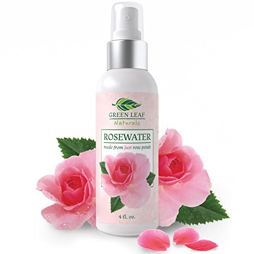 Organic Rosewater Spray Facial Toner for Face, Hair, Skin and Body - Made Pure and Natural for Women's Skincare by Green Leaf Naturals - 4 oz - Facial Spray Rosewater
