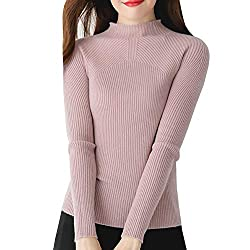 Dissa F5054 Women Loose Solid Sweater Turtle Neck Long Sleeve 100 Cashmere Sweater Pullover Pink S Uk 6