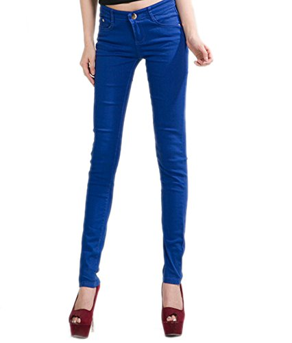 Pantalon DELEY Skinny Jegging Fit Jeans Leg Bleu Solides Femmes Juniors Royal Basic Stretch fEHwE6q