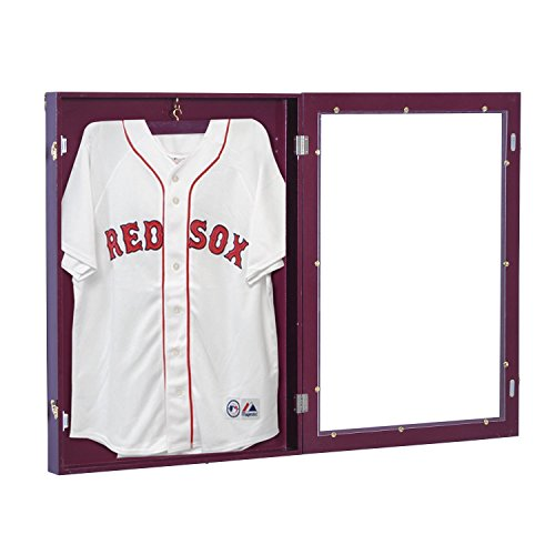 "totoshop 31.5"" Lockable Jersey Display Case Football Baseball Shadow Box Cabinet Hanger"