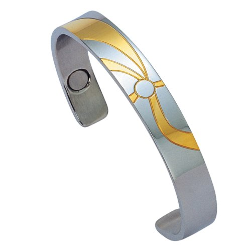 Unique Royal Jewelry Women's Adjustable-fit Stainless Steel 14k Gold Plated Magnetic Health and Golf Cuff Bracelet (Stainless Steel Magnetic Golf)