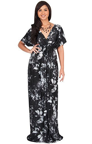 (KOH KOH Women Long Floral Print Kimono Short Sleeve V-Neck Summer Casual Boho Bohemian Flower Hawaiian Sundress Sun Gown Gowns Maxi Dress Dresses, Black and Gray L 12-14)