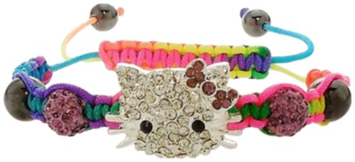 - Bracelet - Crystal Encrusted Kitty Face Purple Shamballa Beads - Kiki's Colorful Kitty in Purple