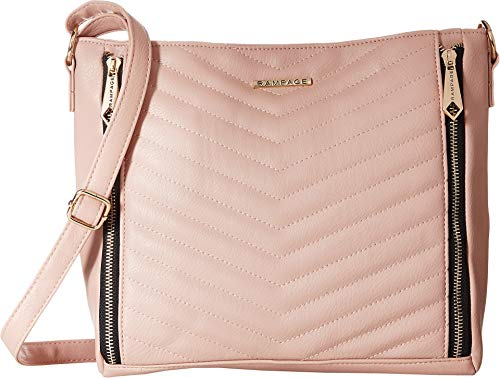 Rampage Womens Chevron Quilted Hobo Blush One Size