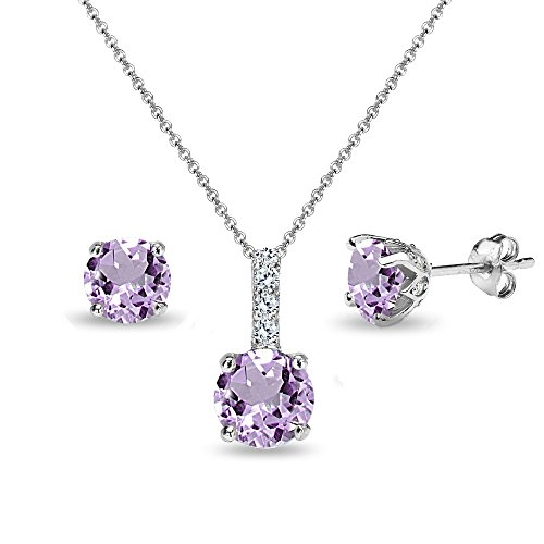 Sterling Silver Amethyst & White Topaz Round Crown Stud Earrings & Necklace Set