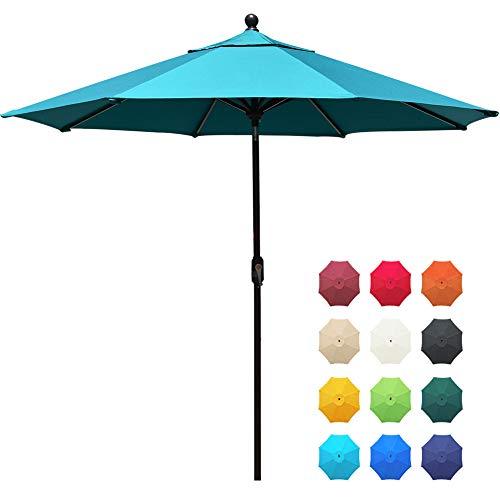 EliteShade Sunbrella 9Ft Market Umbrella Patio Outdoor Table Umbrella with Ventilation and 5 Years Non-Fading Guarantee,Teal (Target Umbrellas Outdoor)
