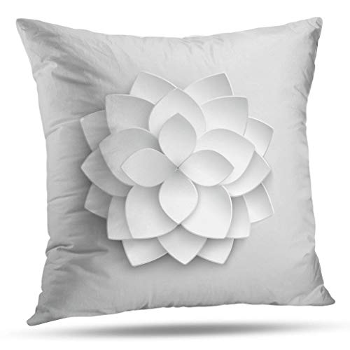 Kutita Artwork Decorative Pillow Covers, White Lotus Flower Origami Blossom Artwork Throw Pillow Decor Bedroom Livingroom Sofa 18X18 inch