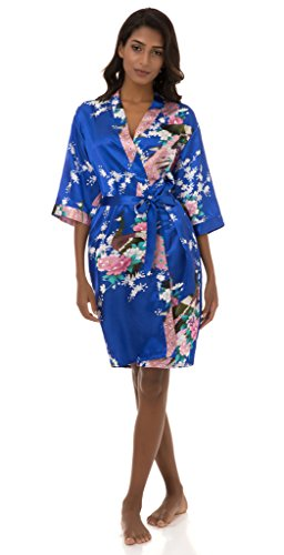 Dingwangyang Women's Peacock Print Half Sleeve Silk Kimono Bridesmaid Robe Nightgown(Royal Blue,M)