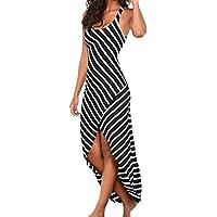 ☀Hot Sale Women Summer Dress Women Casual Sundress Sleeveless Stripes Loose Long Beach Dress-Todaies