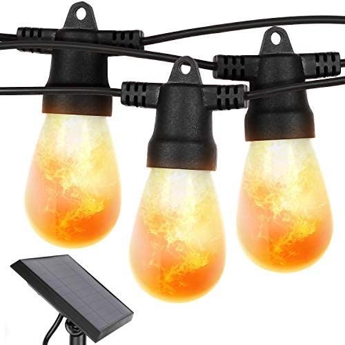 Brightech Ambience Pro with Flaming, Flickering LED Bulbs – Solar Panel Powered String Lights – Commercial Grade Waterproof, Shatterproof Patio Lights Create Cafe Ambience On Your Porch, Deck – 27 Ft