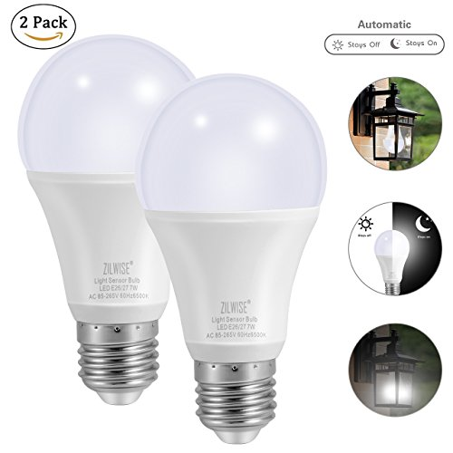 ZILWISE Dusk to Dawn Light Bulb, 7W Light Sensor LED Bulbs with Auto Switch, Outdoor/Indoor LED Lamps for Gate, Wall, Driveway, Garden, Patio, Steps,Yard, Deck (E26/E27,600lum,Cool White,2 pack) -
