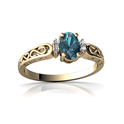 14kt Yellow Gold Lab Alexandrite and Diamond 6x4mm Oval filligree Scroll Ring - Size 7 ()